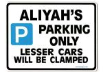 ALIYAH'S Personalised Parking Sign Gift | Unique Car Present for Her |  Size Large - Metal faced